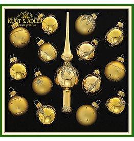 Kurt Adler Christmas Mini Tree Ornaments Gold Balls w Tree Topper Set of 15
