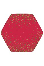 Papyrus Paper Salad-Dessert Plates 8pk - Simple Gold Dot on Red