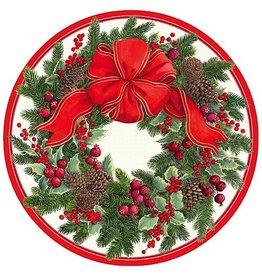 Caspari Paper Dinner Plates 13410DP Evergreen Wreath White