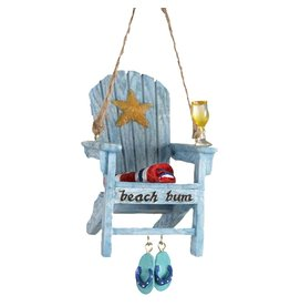 Kurt Adler Beach Chair Christmas Ornament w Beach Bum Text -A Blue