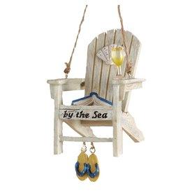 Kurt Adler Beach Chair Christmas Ornament w By the Sea Text -B White