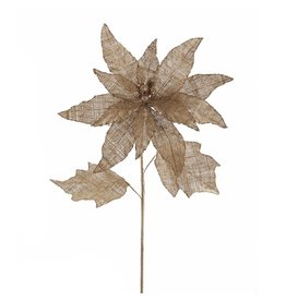 Kurt Adler Poinsettia Stem 18L Burlap Christmas Flowers Floral