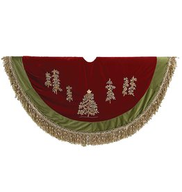 Kurt Adler Christmas Tree Skirt 50 inch Burgundy Green w Embroidery Trees n Fringe