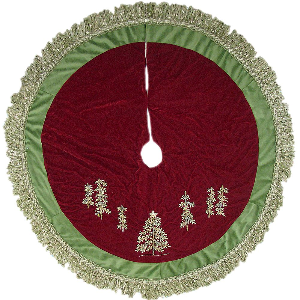 Kurt Adler Christmas Tree Skirt 50 inch Burgundy Green w Embroidery Trees n Fringe