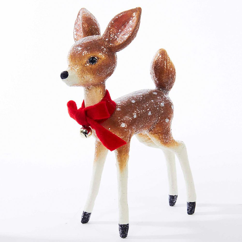 Kurt Adler Baby Deer w Red Bow Vintage Christmas Tablepiece 9 inches