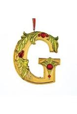 Kurt Adler Gold Initial Ornament w Holly on Red Ribbon Hanger Letter G