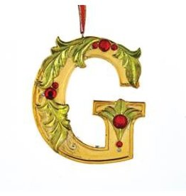 Kurt Adler Gold Initial Ornament w Holly on Red Ribbon Hanger Letter G