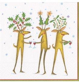 Caspari Christmas Paper Cocktail Napkins 20pk Reindeer Cheers