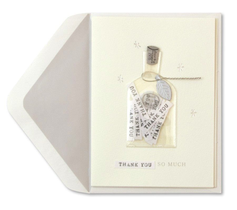 Papyrus Greetings Thank You Card Bottle of Thanks