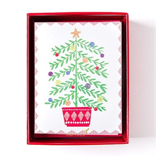 Papyrus Greetings Boxed Christmas Cards Happy Sweet Tree in Pot 20pk
