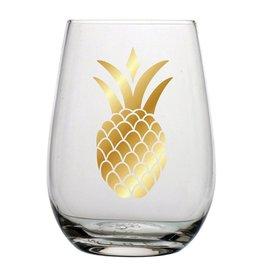 Slant Stemless Wine Glass 20oz F146561 Gold Pineapple