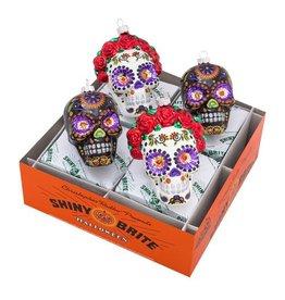 Christopher Radko Shiny Brite Halloween Ornaments Reflector Skulls