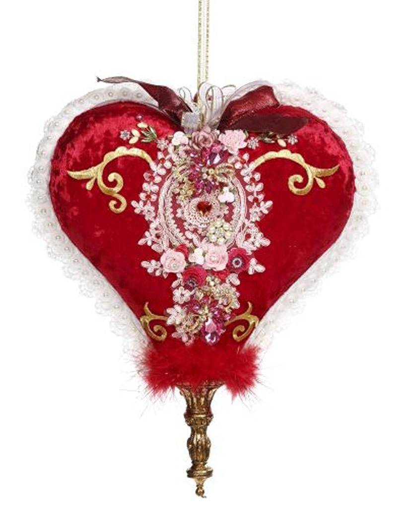 Mark Roberts Fairies Valentines Day Hanging Jeweled Hearts 16 inches Set of 2 A-B