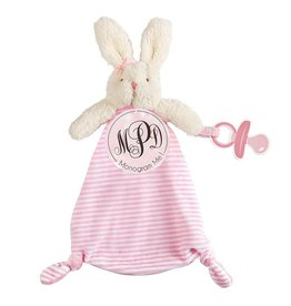 Mud Pie Pacy Pals Cuddler Pacifier Holder Strap Monogrammable - Bunny