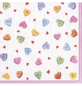 Caspari Paper Cocktail Beverage Napkins 20pk Candy Hearts