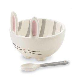 Mud Pie Bunny Candy Bowl W Ceramic Spoon - White w Gray Stripes