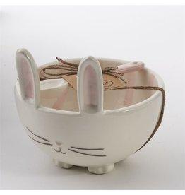 Mud Pie Bunny Candy Bowl W Ceramic Spoon - White w Pink Stripes