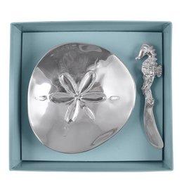 Mariposa Sand Dollar Dish Set W Spreader