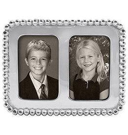 Mariposa Beaded 2x3 Double Photo Frame