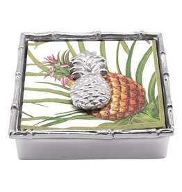 Mariposa Napkin Box Weight Set Pineapple w Bamboo Edge Holder