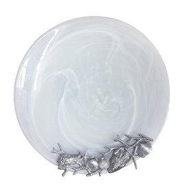 Mariposa White Seaside Alabaster Platter Glass w Starfish n Shells Accents