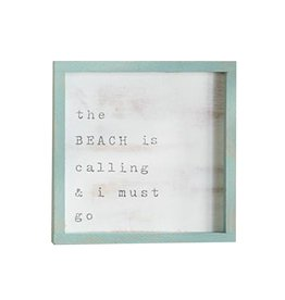 Mud Pie Small Beach House Framed Wall Plaque w The Beach is Calling And I Must Go