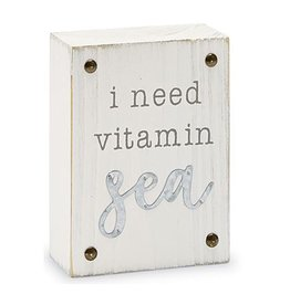 Mud Pie Beach House Sentiment Block Plaque w I Need Vitamin Sea