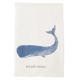 Mud Pie Beach House Nautical Dish Towel w Whale - Whale-come