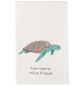 Mud Pie Beach House Nautical Dish Towel Sea Turtle Take Time To Relax n Coast