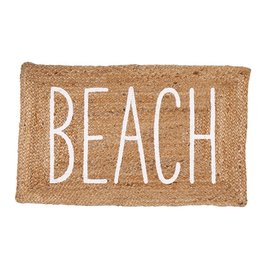 Mud Pie Jute Beach Mat 23x36 Braided Jute Doormat w Printed BEACH