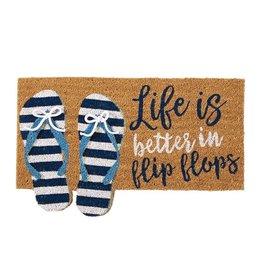 Mud Pie Woven Coir Door Mat w Rubber Back 18x29 Life Is Better In Flip Flops
