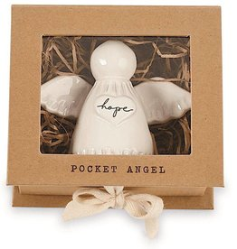 Mud Pie Hope Pocket Angel Milk Glazed Terracotta 3.5 inches