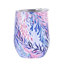 Lilly Pulitzer® Stainless Insulated Tumbler Stemless Wine Glass w Lid -Kaleidoscope Coral