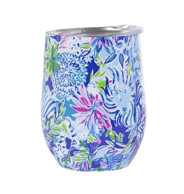 Lilly Pulitzer® Stainless Insulated Tumbler Stemless Wine Glass w Lid -Lion Around
