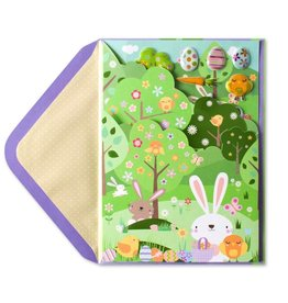Papyrus Greetings Easter Card Easter Egg Hunt Meadow w Stickers