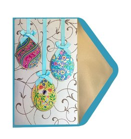 Papyrus Greetings Easter Card Three Decorated Hanging Easter Eggs