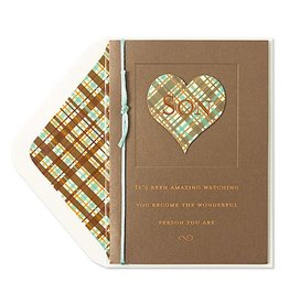 Papyrus Greetings Birthday Card For Son Heart w Plaid Pattern