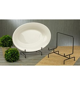 Tripar International Large Black Metal Decorative Bowl and Platter Stand