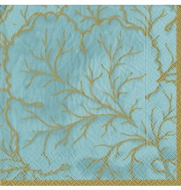 Caspari Paper Cocktail Napkins 20ct Gilded Majolica Aqua