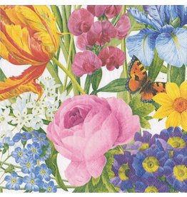 Caspari Paper Cocktail Napkins 20ct Spring Redoute Floral w Butterfly