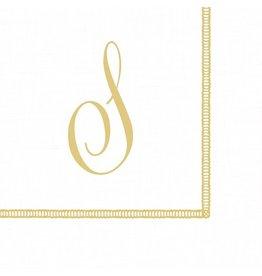 Caspari Monogram Initial S Paper Cocktail Napkins 20pk