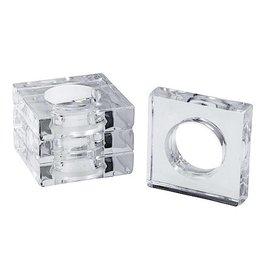 Caspari Acrylic Napkin Rings Set of 4 Square w Round Center - Clear