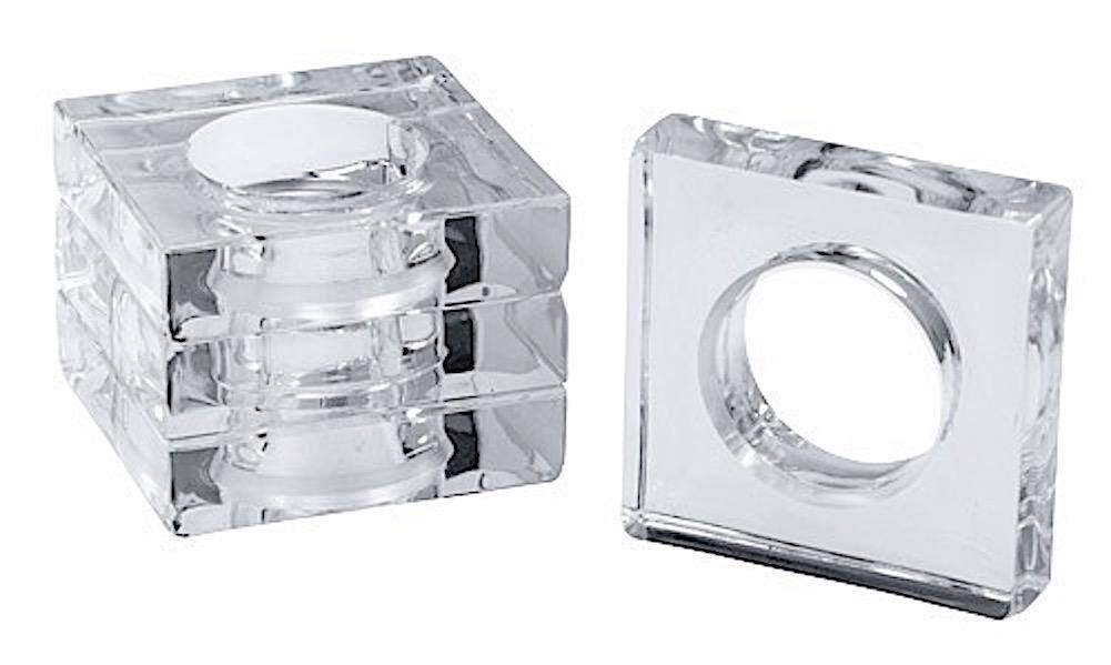 Caspari Acrylic Napkin Rings Set of 4 Square w Round Center - Clear
