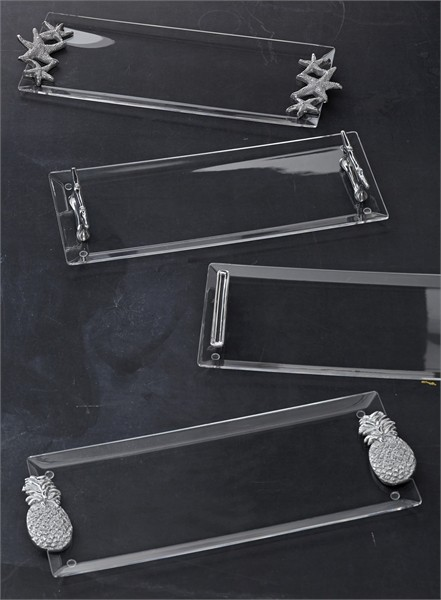 Mariposa Clear Acrylic Rectangular Tray 18.5x7.75 w Starfish Handle