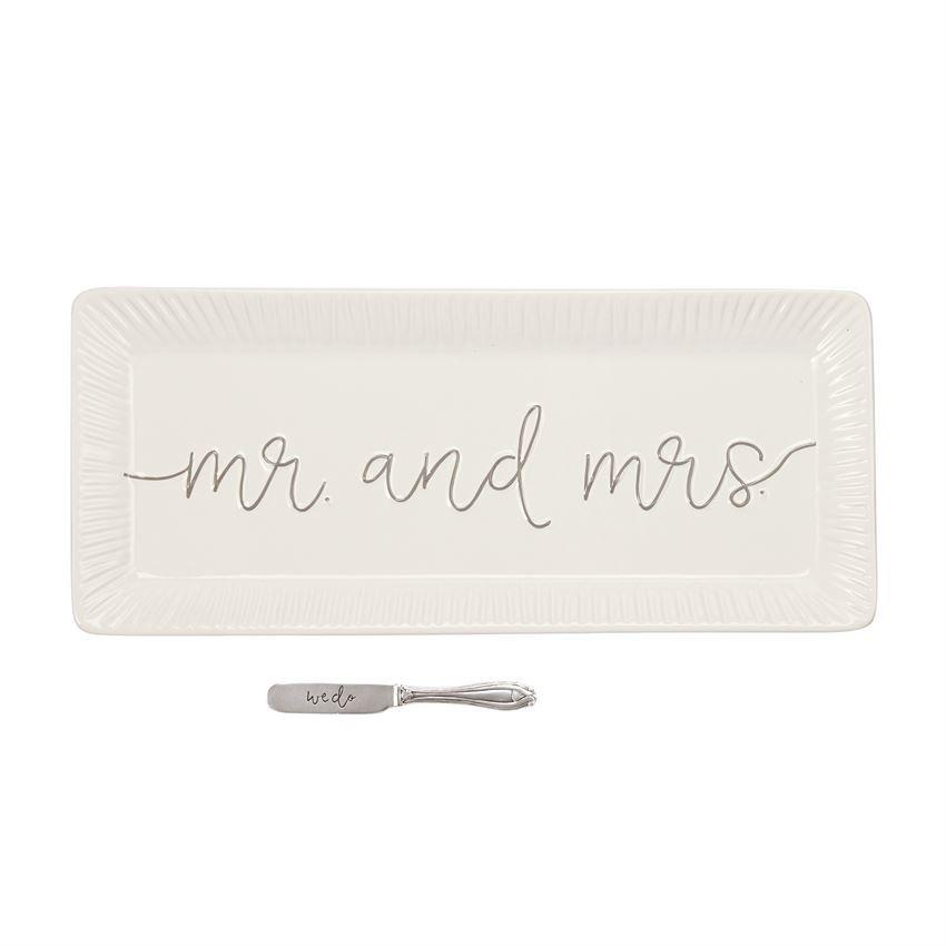 Mud Pie Mr and Mrs Hostes Tray w Spreader Set