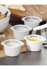 Mud Pie Butter Crock Set of 4 Ceramic Handled Crocks w Sentiments