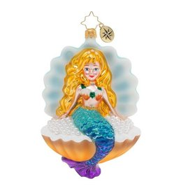 Christopher Radko Collecting Pearls Mermaid in Sea Shell Christmas Ornament