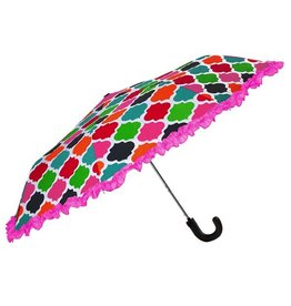 Compact Umbrella w Multi Color Geometric Pattern