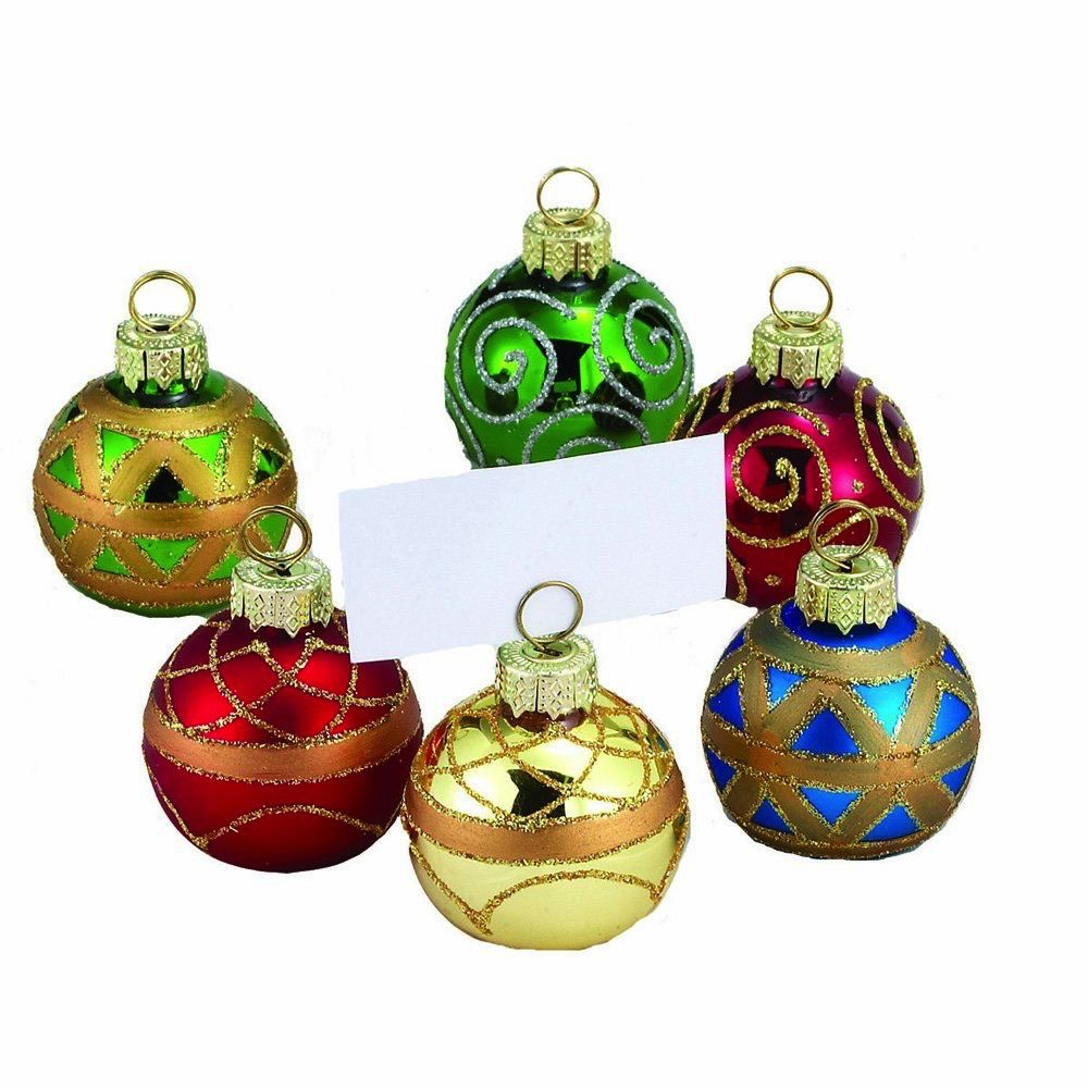 Kurt Adler Christmas Place Card Holders Ball Ornaments w Place cards 6pc C1848