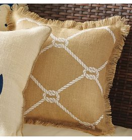 Mud Pie Burlap Pillow w Nautical Print 13x13 4265242T Natural w Rope Print